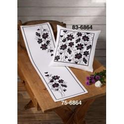 Löpare - Blommor i svart