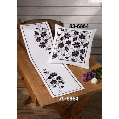 Kudde - Blommor i svart