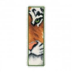 Brodera ett bokmärke - Tiger