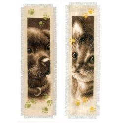 Brodera två bokmärken - Hundvalp och kattunge
