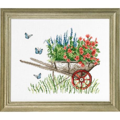 Tavla - Skottkärra med blommor