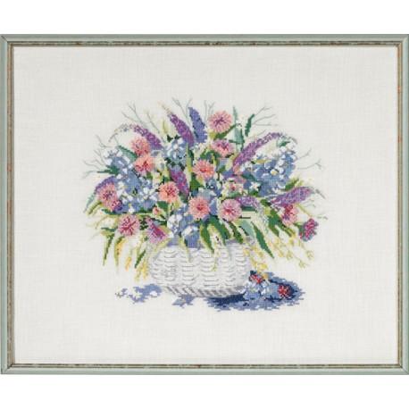Tavla - Korg med blommor