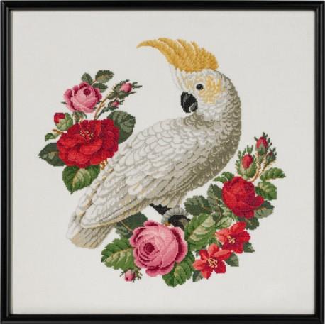 Tavla - Vit Ara med rosor