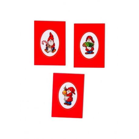 Tre julkort - Söta Tomtar