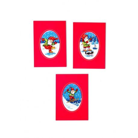 Tre julkort - Tomtar på tur