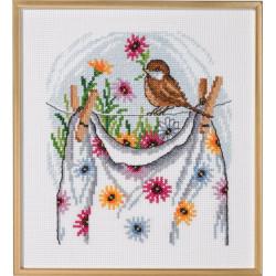 Tavla - Fågel på tvättlina